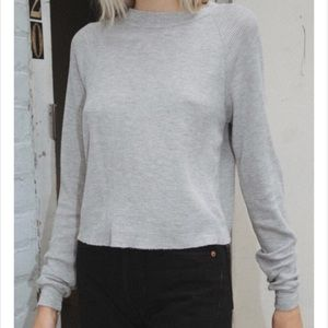 BRANDY MELVILLE | Grey Thermal Waffle Long Sleeve